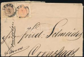 """~ 1855 3kr + plate flaw 6kr on cover ,,LUGOS"""" - Cronstadt, ~ 1855 3kr + lemezhibás 6kr áthajtogatott levélen ,,LUGOS"""" - Cronstadt"""