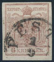 1850 6kr HP (III) világos vörösbarna, finom nyomat ,,PEST(H) Certificate: Steiner