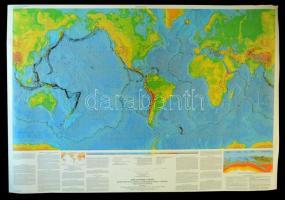1994 Dynamic Planet, nagyméretű világtérkép a vulkanikus és tektonikus tevékenységekkel, 101×147 cm