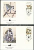 WWF: Ethiopian monkey set on 4 FDC, WWF: Etióp majom sor 4 db FDC-n