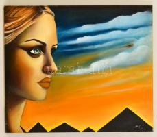 Bólyai Krisztina (?-): Csábító tekintet II. Olaj, vászon, 60×70 cm