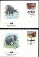 1983 WWF: Afrikai elefánt sor Mi 361 -364 A+C 8 db FDC-n