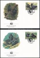 WWF: Mountain gorilla set on 4 FDC, WWF: Hegyi gorilla sor 4 db FDC-n