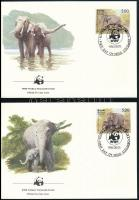 WWF: Asian elephant set on 4 FDC, WWF: Ceyloni elefánt sor 4 db FDC-n