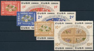 1960 Karácsony; Virág sor 3 ötöstömbben Mi 681-695