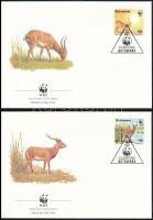 WWF Water antelope set 4 FDC, WWF: Víziantilop sor 4 db FDC-n
