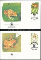 WWF Fiji tree frog set 4 FDC, WWF: Fidzsi-fa béka sor 4 db FDC-n