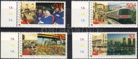 175th anniversary of modern Singapur, Singpex stamp exhibition margin set, 175 éves a modern Szingapur, Singpex     bélyegkiállítás ívszéli sor, Internationale Briefmarkenausstellung SINGPEX, 175 Jahre modernes Singapur Satz mit Rand