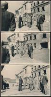1943 A Belügyminisztérium Bp.I. Országház utcai épületének emeletráépítésének bokrétaünnepe. 5 db feliratozott fotólap