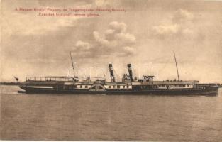 A Magyar Királyi Folyam- és Tengerhajózási Részvénytársaság (MFTR) Erzsébet királyné termes gőzöse; MFTR reklám a hátoldalon / Hungarian steamship, SS Queen Elisabeth