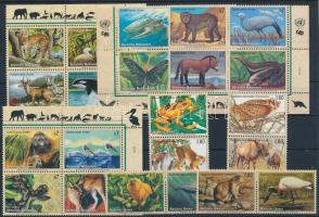 1994-2000 Veszélyeztetett fajok 4 klf négyestömb + 2 klf sor párokban