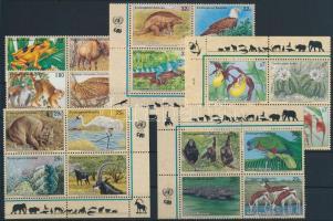 1993-1996 Veszélyeztetett fajok 4 klf négyestömb + 1 sor párokban