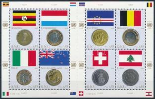 Flags and coins of Member States mini sheet, Tagállamok zászlói és pénzérméi kisív