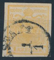 1kr HP I. orange marign print, paper crease ,,(KAR)LSTADT