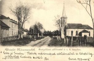 1903 Bustyaháza, Handalbustyaháza, Bushtyno, Bustino; Erdőhivatal, Római katolikus templom. Wizner és Dávid kiadása / forestry office, Catholic church