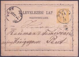 1871 Díjjegyes levelezőlap / PS-card, kék / blue OZORA - PEST (Gudlin 150 p)