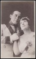 Babits Vilma (1891-?) magyar színésznő autográf aláírása, a fotón Káldor Dezsővel