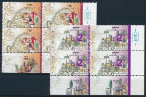 Jewish cities set blocks of 4, Zsidó városok sor 4-es tömbökben, benne 2-2 tabos bélyeg