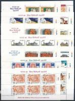 1987-1989 India 14 different booklet panes, 1987-1989 India 89 bélyegkiállítás 14 különféle füzetlap