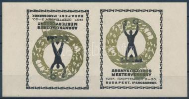 1937 Aranykoszorús ipari verseny emlékív, fordított párban, ritka