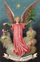 1901 Karácsonyi Üdvözlet! / Christmas greeting card, Angel with presents. litho (Rb)