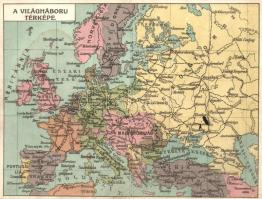 A Világháború Térképe. Lengyel Lipót műintézet kiadása. Kinyitható képeslap / Map of the First World War. Folding card