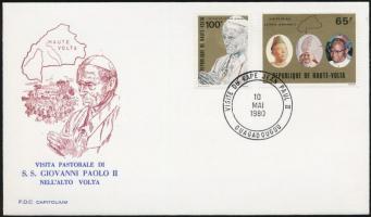 Pope John Paul II. set on cover, II. János Pál pápa látogatása sor levélen