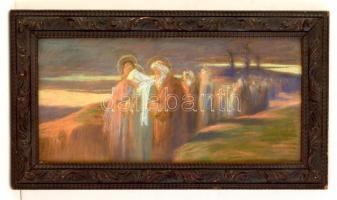 Udvary Géza (1872-1932): Gyászolók. Pasztell, papír, üvegezett keretben, 22×48 cm