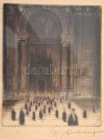 Gy Andor József (?-?): Bazilika bejárat. Rézkarc, papír, jelzett, üvegezett keretben, 17×14 cm
