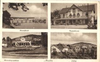 Alsóörs, Vasútállomás, Baracskay szálloda, strandfürdő, látkép (EK)