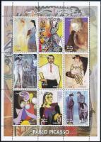 Somalia Picasso paintings 9 values mini sheet, Szomália Picasso festmények 9 értékes kisív