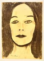 Anna jelzéssel: Női fej. Szén, papír, 42×29 cm