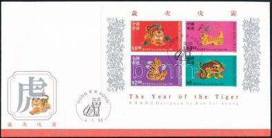 Chinese New Year: Year of the Tiger block FDC, Kínai Újév: Tigris éve blokk FDC-n