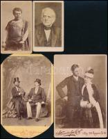 cca 1860-1900 Azonosításra váró színészeket és énekeseket ábrázoló vizitkártyák és Kozmata kabinetfotók