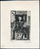 Lenkey Zoltán (1936-1983): Figura, rézkarc, papír, jelzett, 14,5×9,5 cm