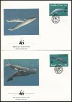 WWF Whales set 4 FDC, WWF: Bálnák sor 4 db FDC-n