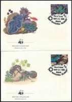 WWF Sea snails and shellfish set 4 FDC, WWF: Tengeri csigák és kagylók sor 4 db FDC-n