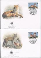 WWF Asian wild dog set 4 FDC, WWF: Ázsiai vadkutya sor 4 db FDC-n