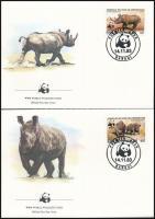 WWF Rhinoceros noir set 4 FDC, WWF: Keskenyszájú orrszarvú sor 4 db FDC-n