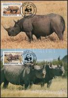 WWF Rhinoceros noir set 4 CM, WWF: Keskenyszájú orrszarvú sor 4 db CM-en