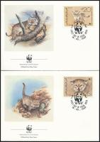 WWF Sand cat and Desert Fox set 4 FDC, WWF Homoki macska és sivatagi róka sor 4 db FDC-n