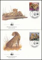 WWF Cheetah set 4 FDC, WWF: Gepárd sor 4 db FDC-n