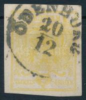 1850 1kr MP III. citromsárga ,,ÖDENBURG Certifictae: Steiner