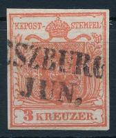 1850 3kr HP I a-3 téglavörös ,,(PRE)SZBURG Certificate: Steiner
