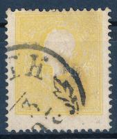 2kr yellow Type II strongly shifted perf. Sign: Steiner, 2kr sárga II típus erős elfogazással Sign: Steiner