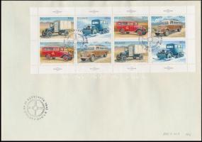 Stamp Day, Postal Cars mini sheet FDC, Bélyegnap, Postaautók kisív FDC-n