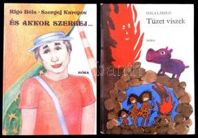 Dala László: Tüzet viszek. Zsoldos Vera rajzaival.+Rigó Béla-Szergej Kurepov: És akkor Szergej...Irsa Katalin rajzaival. Bp.,1983-1985,Móra. Kiadói kartonált papírkötésben.