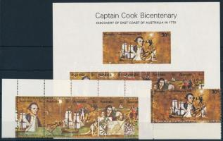 Captain Cook set corner stripe of 5 + imperforated block, Cook kapitány sor ívsarki ötöscsíkban + vágott blokk