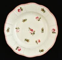 XIX. sz. vége: Antik Herendi tányér. Rózsa mintával. Kézzel festett. Kopásokkal. Jelzett. d: 20 cm