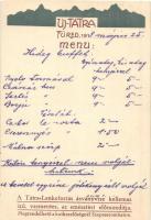 Újtátrafüred, Neu-Schmecks, Novy Smokovec (Tátra, Tatry); Éttermi menü, étlap és reklámlap. Tátra Lenkeforrás ásványvize kellemes ízű, vasmentes, az emésztést előmozdítja / restaurants menu and advertisement card. Art Nouveau (EK)